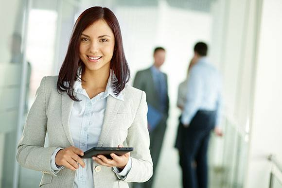 Woman smiling in the workplace